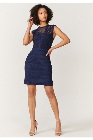 Navy Lace Mix And Match Mini Dress