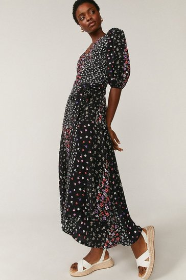 Black Woven Printed Midi Wrap Dress