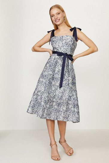 Multi Tie Sleeve Floral Burnout  Midi Dress
