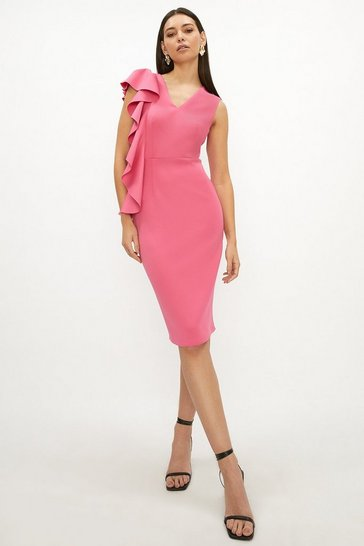 Blush Frill Detail Scuba Dress
