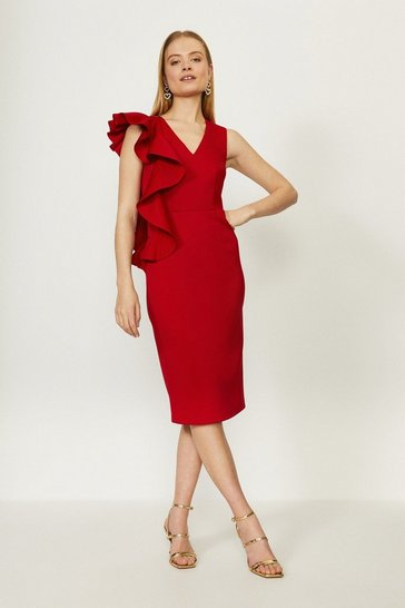 Red Frill Detail Scuba Dress