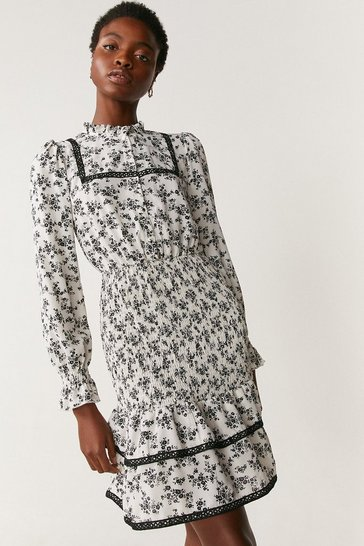 Ivory Smock And Crochet Detail Dress