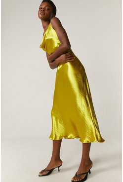 Chartreuse Cowl Neck Midi Dress