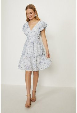 Blue V Neck Broderie Dress