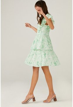 Green V Neck Broderie Dress