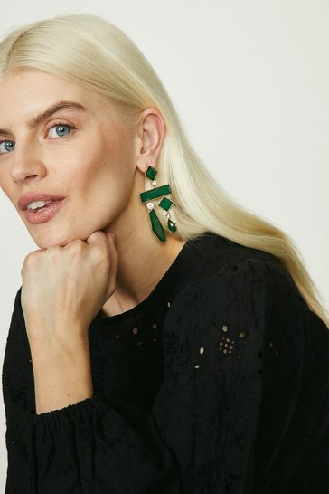 Green Abstract Metal Dangle Earrings