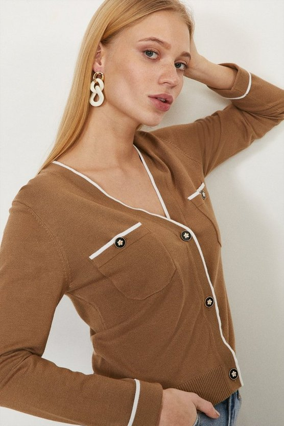 Camel Contrast Detail Knitted Cardigan