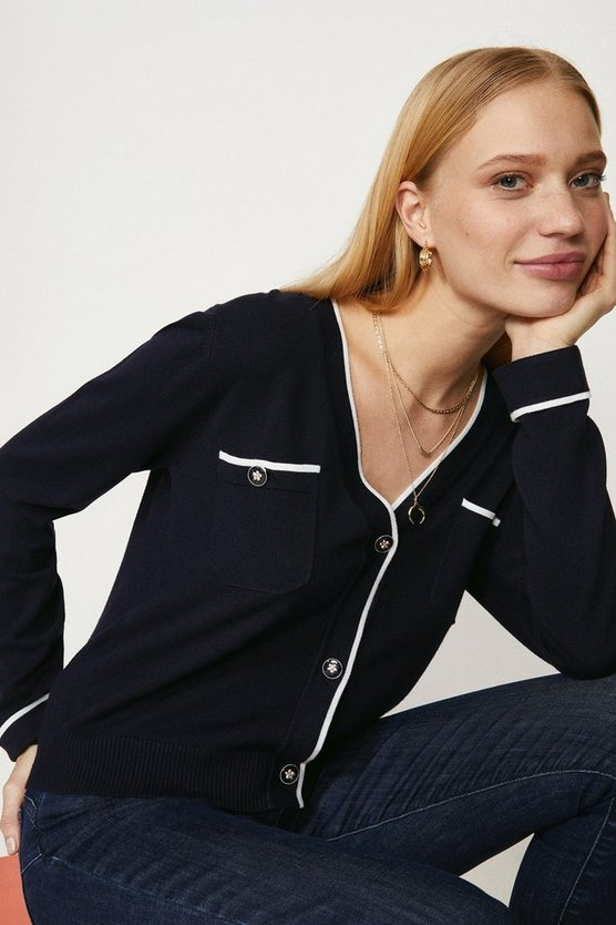 Navy Contrast Detail Knitted Cardigan