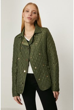 Khaki Quilted Double Breasted Jacket