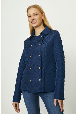 Navy Quilted Double Breasted Jacket