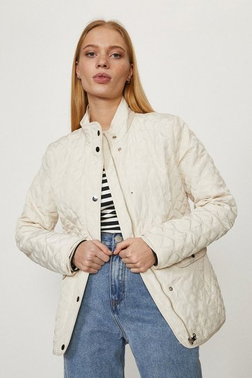 Light stone Popper Detail Quilted Jacket