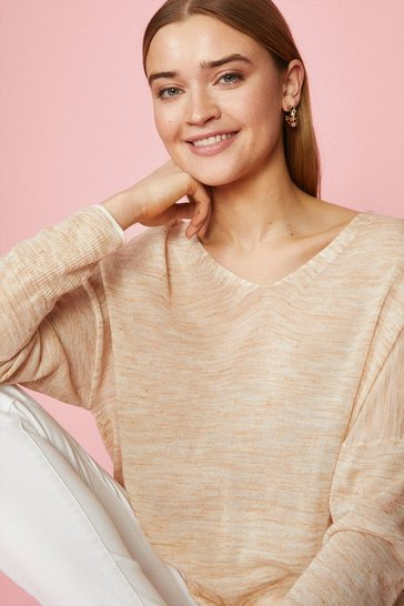 Oatmeal Linen Long Sleeve V Jumper