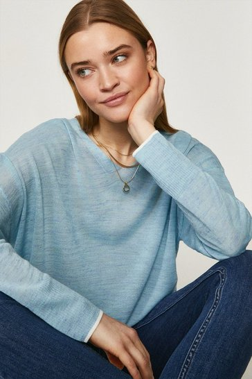 Pale blue Linen Long Sleeve V Jumper