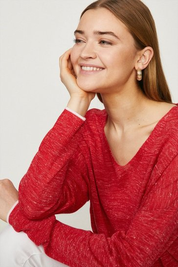 Red Linen Long Sleeve V Jumper