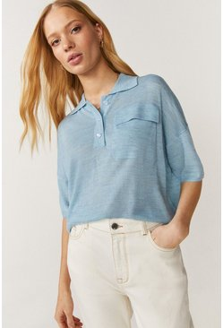 Pale blue Cropped Polo Jumper