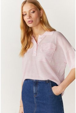 Pink Cropped Polo Jumper