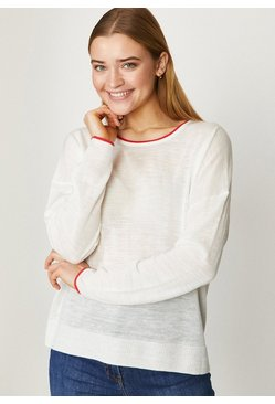 Ivory Long Sleeve Linen Crew
