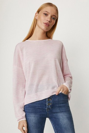 Pink Long Sleeve Linen Crew