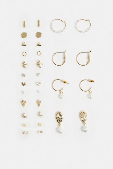 Gold 16 Pack Stud And Hoop Earring Pack