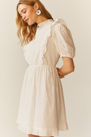 White Ruffle Detail Cotton Broderie Dress