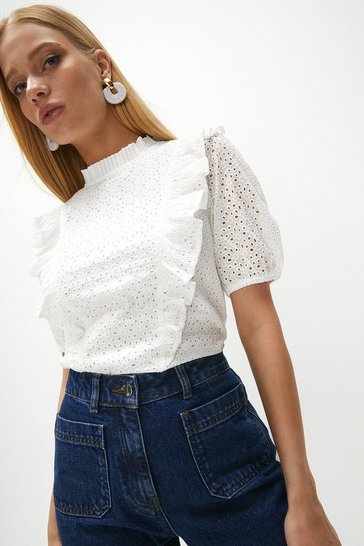 White Ruffle Detail Cotton Broderie Top