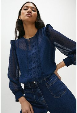 Navy Dobby Spot Scallop Lace Trim Blouse