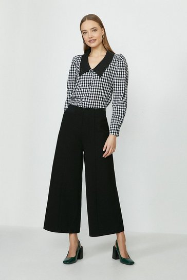 Black Crop Ponte Trouser