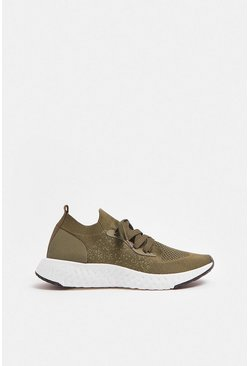 Khaki Chunky Sole Lace Gym Trainers