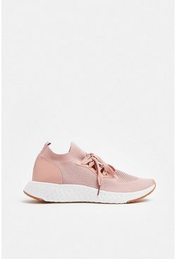Pink Chunky Sole Lace Gym Trainers