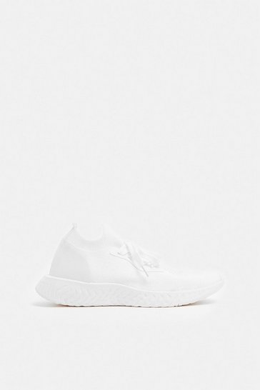 White Chunky Sole Lace Gym Trainers
