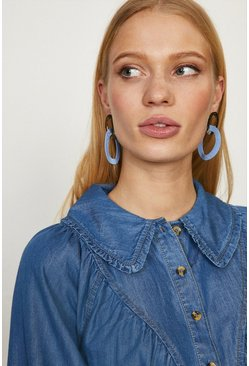 Blue Double Hoop Metal And Colour Earrings