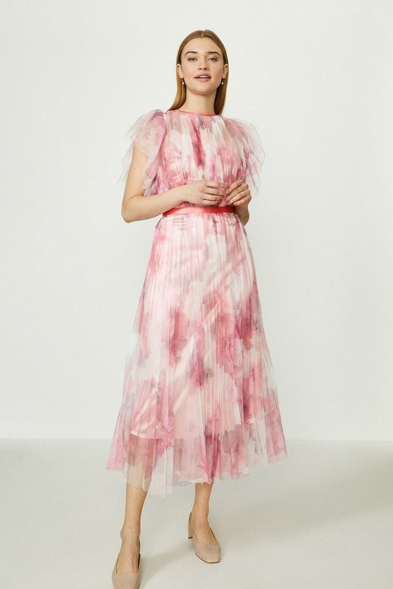Pink Mesh Printed Dress With Pleated Skirt