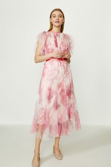 Pink Lace Mesh Printed Dress With Pleated Skirt