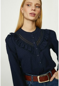Navy Ruffle And Trim Detail Dobby Blouse