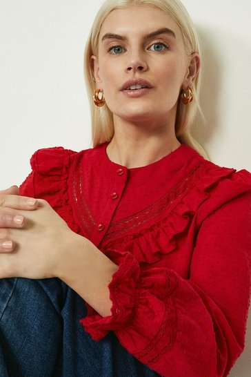Red Ruffle And Trim Detail Dobby Blouse
