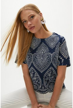 Navy Paisley Contrast Broderie Top