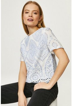 White Paisley Contrast Broderie Top