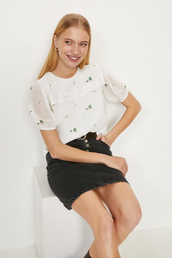 White Lace Detail Ditsy Embroidered Blouse
