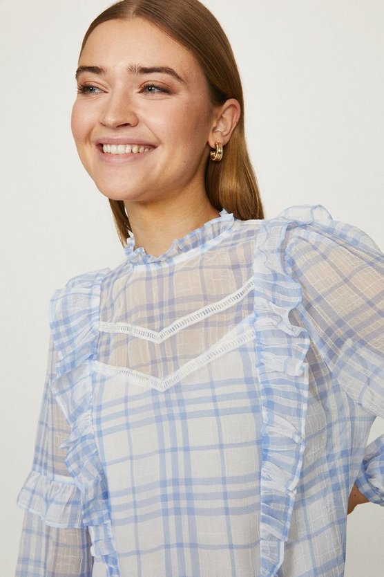 Blue Check Ruffle And Ladder Detail Blouse