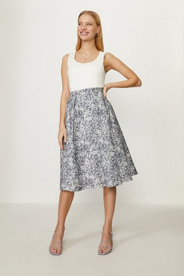 Blue Burnout Floral Full Skirt