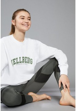 White Wellbeing Oversized Sports Sweatshirt