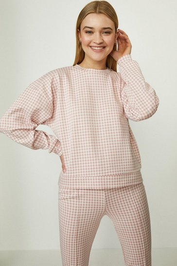 Baby pink Jacquard Jersey Luxe Gingham Sweatshirt