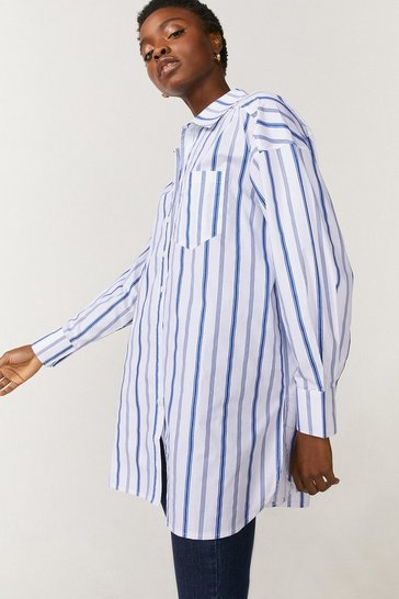 White Poplin Stripe Relaxed Tunic