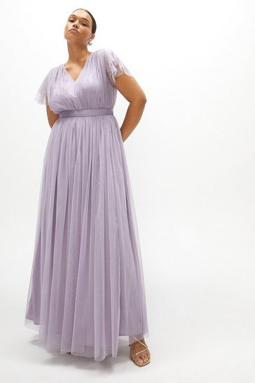 Lilac Curve Tulle V-necktie Belt Maxi Dress