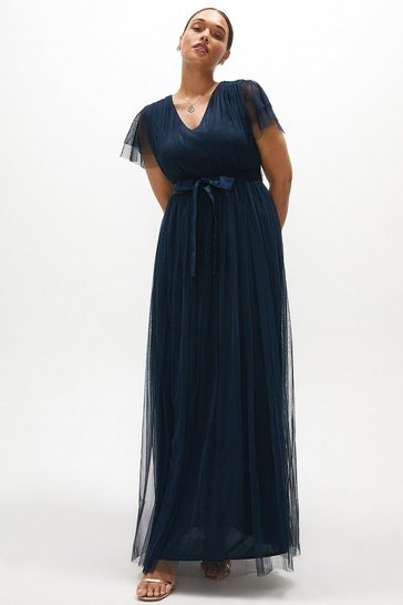 Navy Curve Tulle V-necktie Belt Maxi Dress