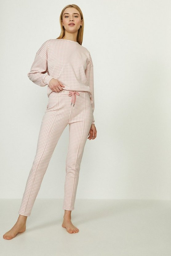 Baby pink Jacquard Jersey Luxe Gingham Tregging