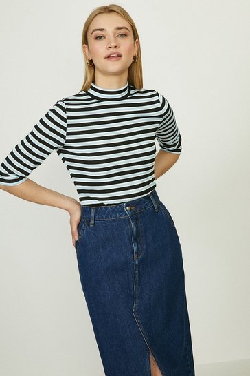 Bright blue Stripe Rib High Neck Top
