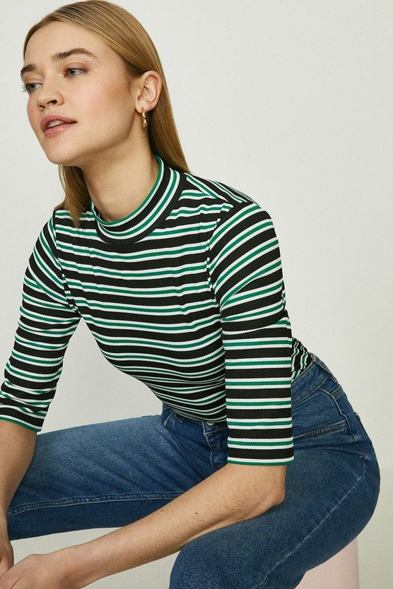 Bright green Stripe Rib High Neck Top