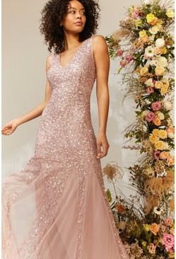 Blush Sequin Split Skirt Maxi Dress