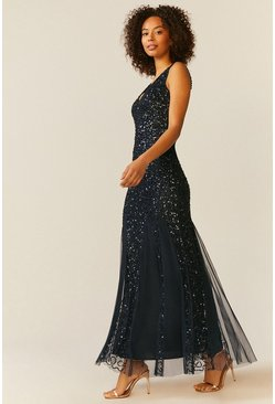 Navy Sequin Split Skirt Maxi Dress